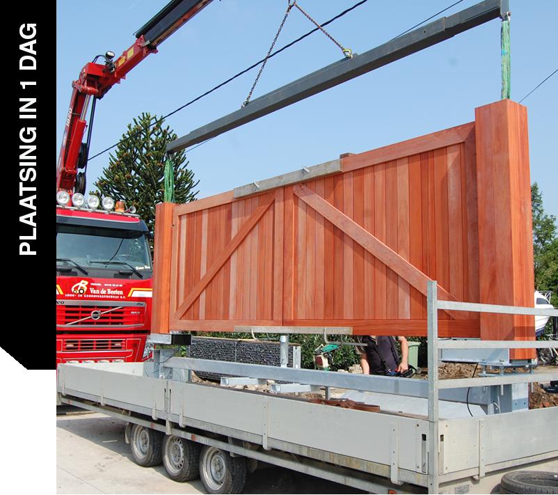 Plaatsing hardhouten toegangspoort De Poort Expert