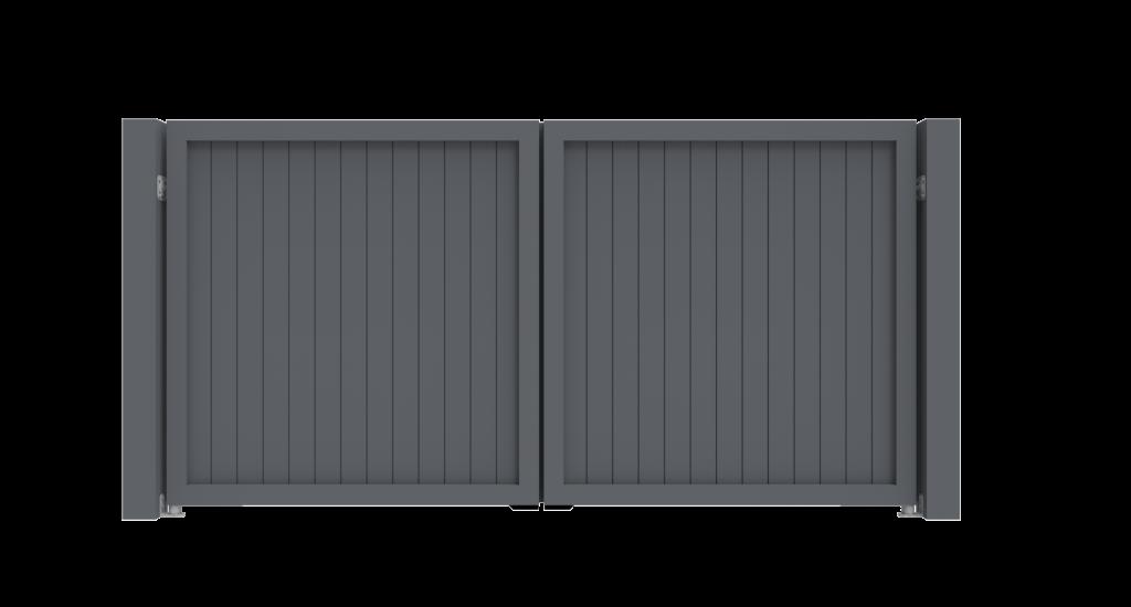 Aluminium draaipoort Model A - Achteraanzicht - De Poortexpert