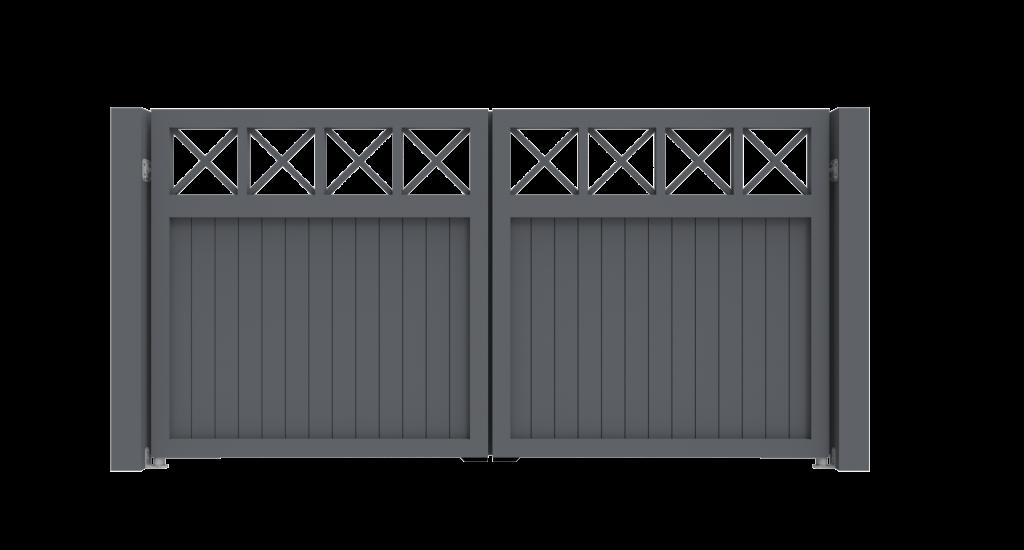 Aluminium draaipoort Model C - Achteraanzicht - De Poortexpert