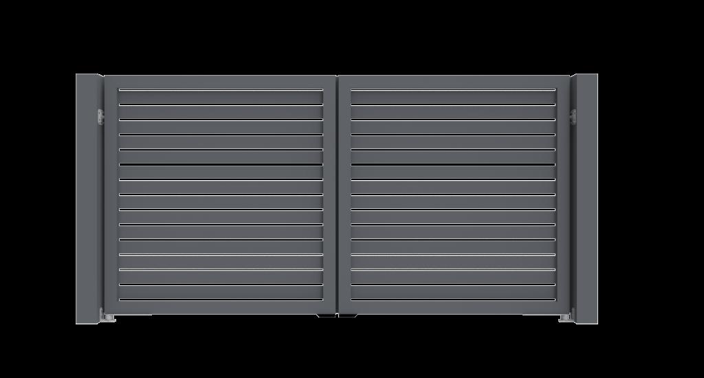 Aluminium draaipoort Model D - Achteraanzicht - De Poortexpert