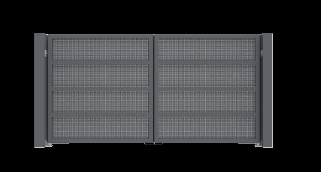 Aluminium draaipoort Model E - Achteraanzicht - De Poortexpert