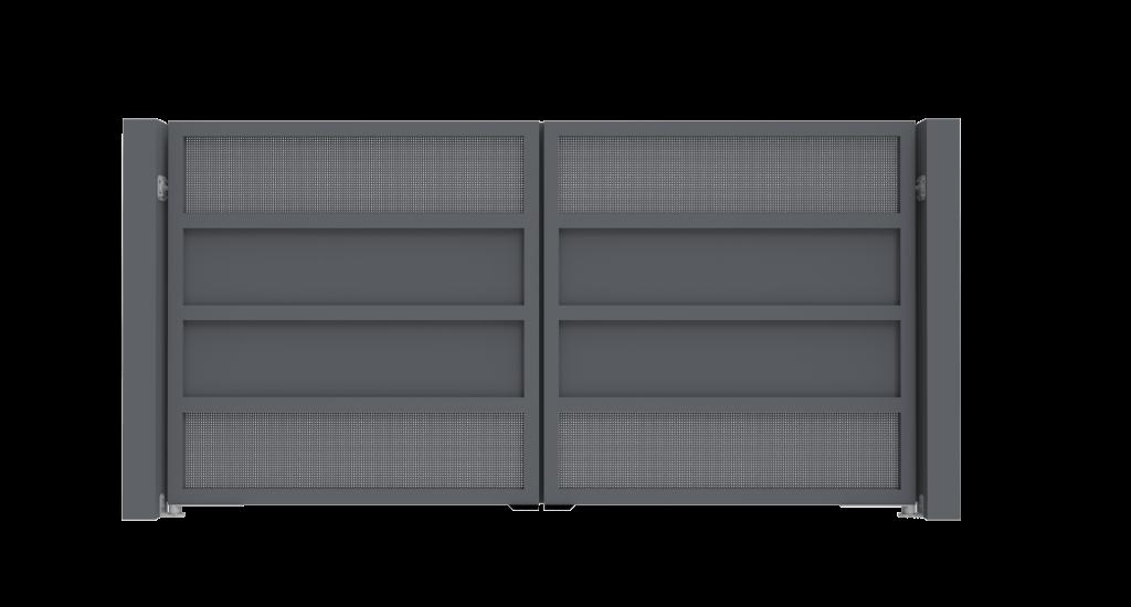 Aluminium draaipoort Model F - Achteraanzicht - De Poortexpert