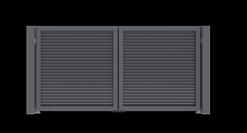 Aluminium draaipoort Model G - Achteraanzicht - De Poortexpert