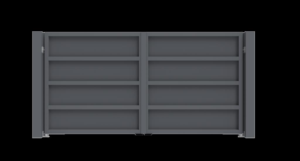 Aluminium draaipoort Model I - Achteraanzicht - De Poortexpert