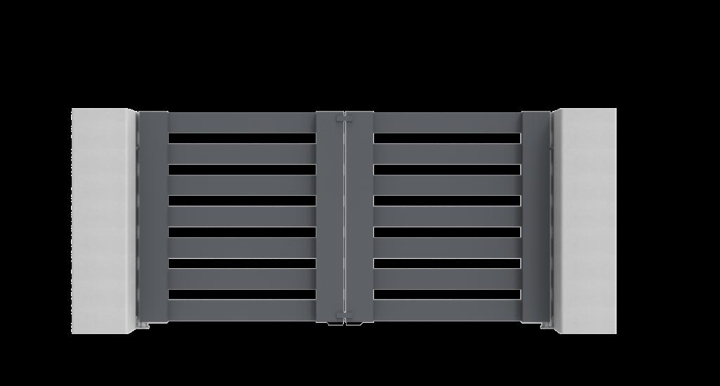 Aluminium draaipoort Model J - Achteraanzicht - De Poortexpert